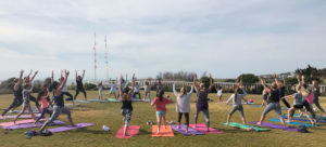 People doing yoga in a field